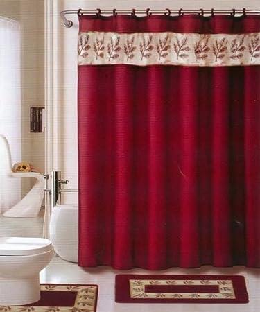 oakland burgundy gold 18piece bathroom set 2rugsmats 1