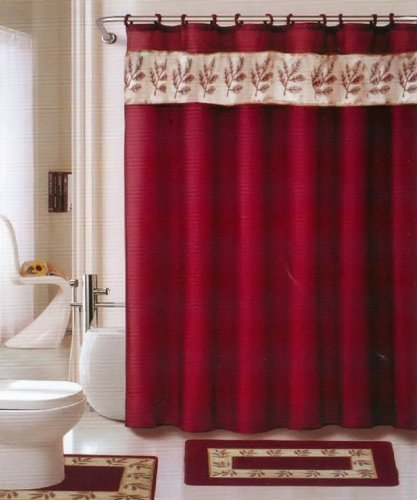 Oakland Burgundy Gold 18 Piece Bathroom Set 2 Rugs Mats 1