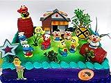 Sesame Street 16 Piece Birthday Cake Topper - Featuring Elmo, Bert, Ernie, Cookie Monster, Big Bird and Themed Accessories