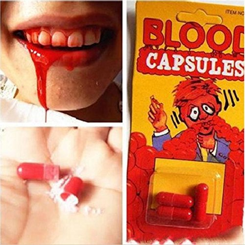Pill Capsule Costume (LUQUAN 30Pcs/Lot Halloween Make Up Costumes Prop Blood Pill Capsules Fake Trick Prank Practical Jokes Gag Gift Vampire Bleeding Mouth)