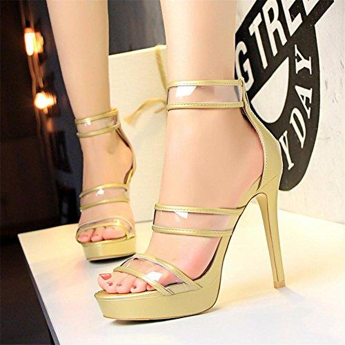 YEEY Las mujeres de verano de tacón de aguja abierta sandalias de tacón alto talón de la correa del tobillo Club de compras Gold