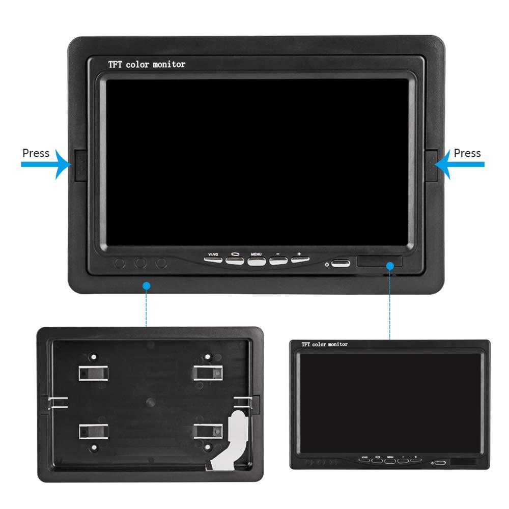 Pantalla a Todo Color TFT IP68 Monitor LCD de 7 Pulgadas y Dos c/ámaras de visi/ón Trasera de 170/° de Gran Angular visi/ón Nocturna Impermeable para una Variedad de veh/ículos