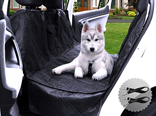 Transpawt Luxury Dog Car Seat Covers - Hammock Waterproof Back Seat Cover for Cars - Trucks and SUVs - Black - 57
