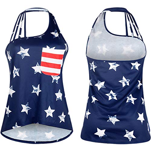 RIUDA Women Flag Tank Tops Flag Print Sleeveless T-Shirt Ladies Faded Patriotic Stars Stripes Tank Up Blouse