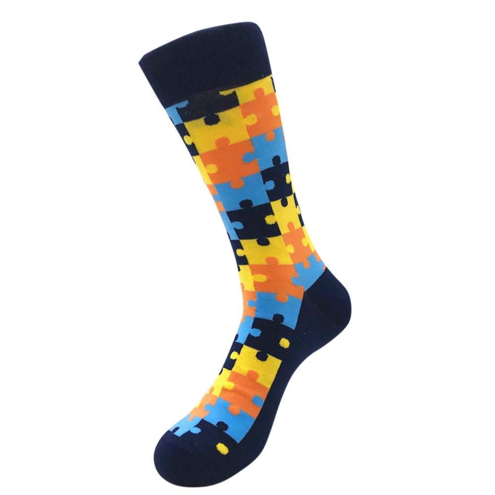 Fashion Color Spliced Pattern Novelty Men's Mid Calf Socks for Football, Running, Riding,Travel (E)