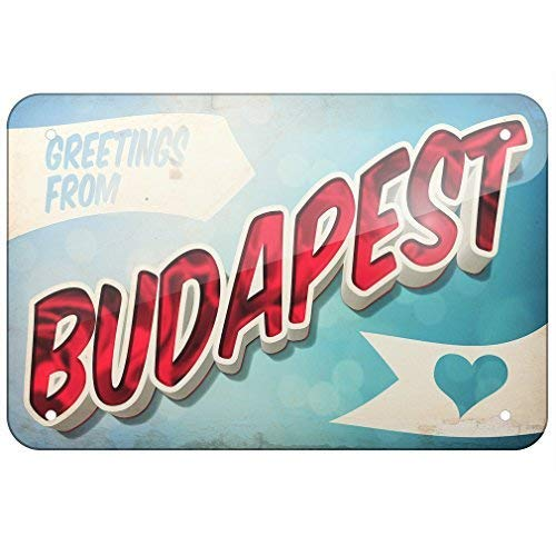 Jacksoney Tin Sign New Aluminum Greetings from Budapest Postcard 11.8 x 7.8 Inch