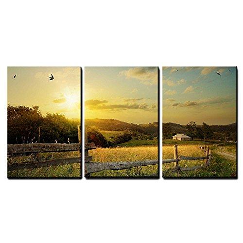 Art Rural Landscape Field and Grass x3 Panels