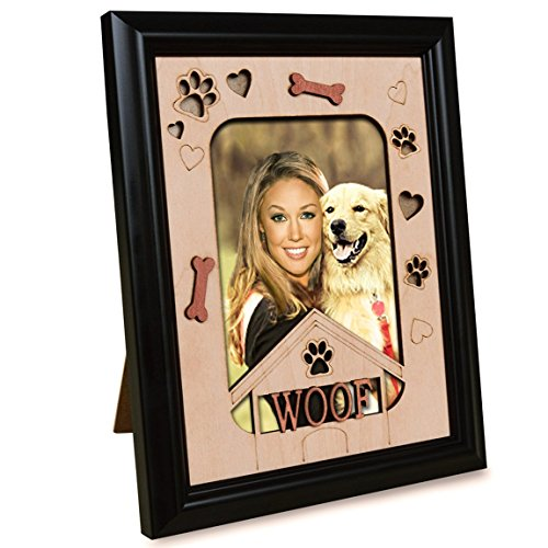 PETAFLOP Pet Picture Frames Memorial Dog WOOF Themed Photo Frame 4 x 6 Wall and Tabletop Display (Dog Picture Frame Vertical)