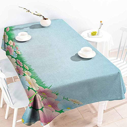 familytaste Garden,Table Cloth for Outdoor Picnic Curvy Fresh Meadow with Pastel Colored Daisies Pansies Yard Growth Countryside Art 52