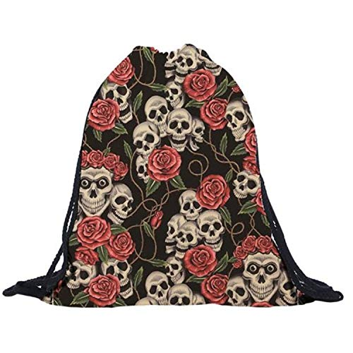 - Fabric Bag Unisex Floral Skull 3D Printing Bags Cool Drawstring Backpack