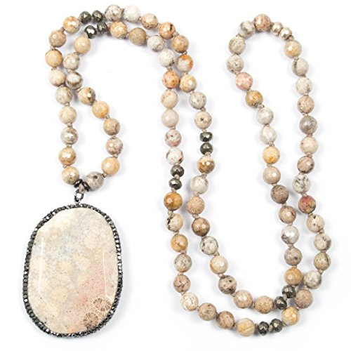 Pavé Hematite & Fossil Coral Pendant Necklace with Hand-Knotted Faceted Fossil Coral Stones and Pyrite Accents - 34 Inches Long Handmade Necklace by Miller Mae Designs (Stone Necklace Fossil)