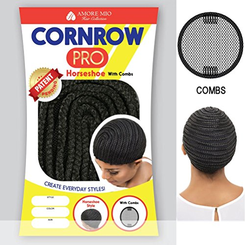 [Vivica A Fox Hair Collection Cornrow Pro Cap Horseshow with Comb, Medium, 1B, 2 Ounce] (Cornrow Wigs)