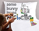 Easter Crafts for Kids Coloring Pillowcase (Personalized - White) Some Bunny Loves Me Pillow Case Better than Coloring Pages Design for Kids Girls or Boys with Name with Crayola Fabric Crayons