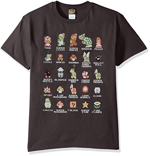 Cast Mens T-shirt - Nintendo Men's Pixel Cast T-Shirt, Charcoal, 3XL