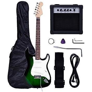 Amazon Com Polar Aurora Full Size Green Electric Guitar 10 W Amp
