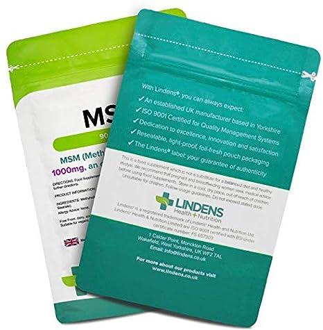 Lindens MSM 1000 mg en comprimidos (metilsulfonilmetano) | 90 Paquete | Fuente orgánica de sulfuro y comprimido diario fácil, apto para veganos y ...
