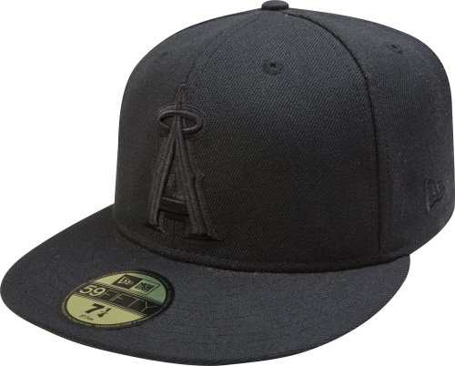 MLB Anaheim Angels Black on Black 59FIFTY Fitted Cap, 7 1/2