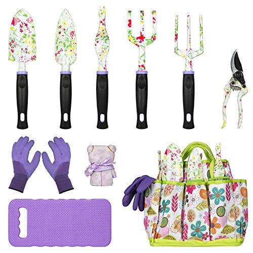 JUMPHIGH Gardening Tool Set, 10 PCS Heavy Duty Aluminum Garden Kit Floral Gardening Gifts for Women, Garden Hand Tools…