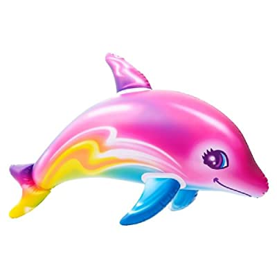 Novelty Treasures 36 Inch Colorful Rainbow Dolphin Inflate Pool Beach Birthday Party Toy: Toys & Games