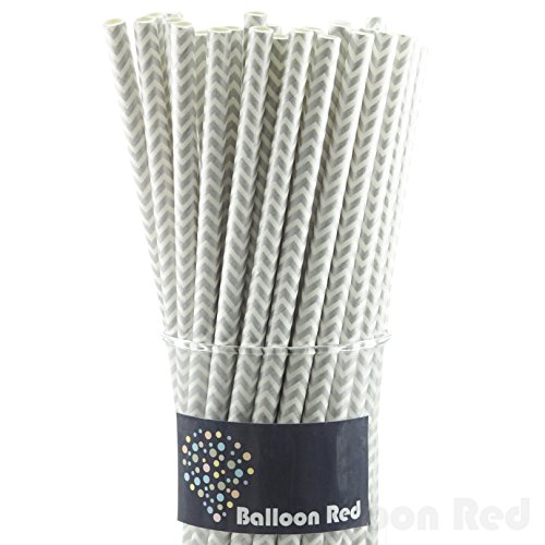 Biodegradable Paper Drinking Straws (Premium Quality), Pack of 50, Chervon - Silver (Halloween Activities For 4th And 5th Grade)