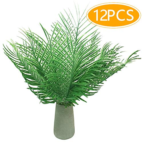 Musdoney 12PCS Artificial Palm Tree Faux Plastics Leaves Green Plants Greenery for Flowers Arrangement Wedding Decoration Faux Palm - Confetti Palm Tree