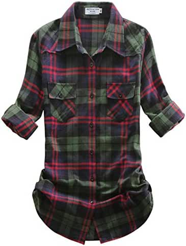 Match Women's Mid-Long Style Roll-Up Sleeve Thin Plaid Shirt #2005