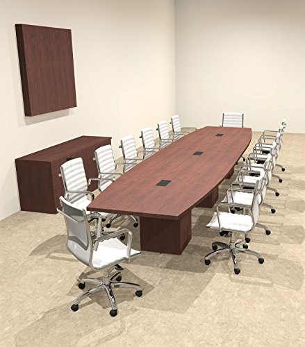 Modern Boat Shaped Cube Leg 16' Feet Conference Table, OF-CON-CQ42