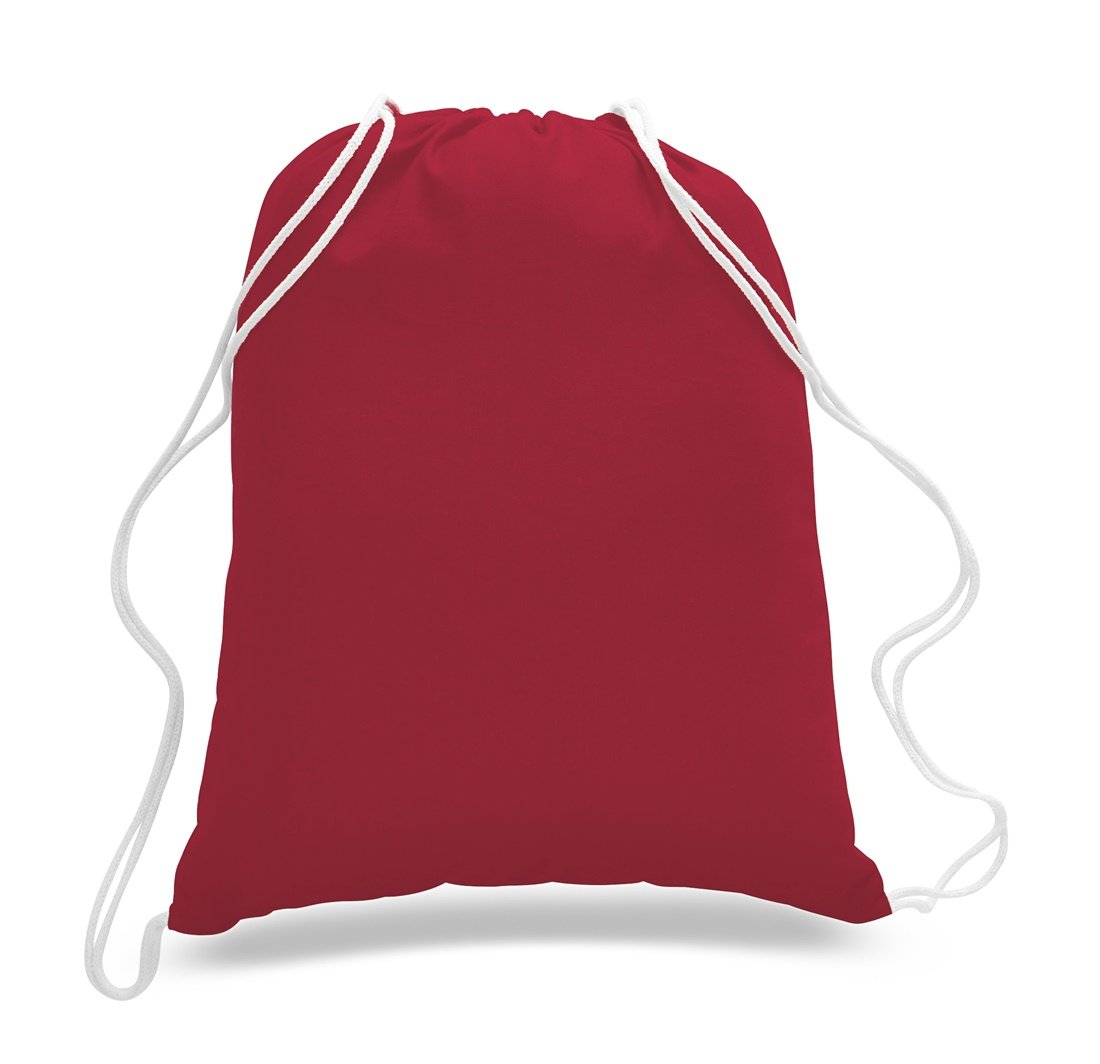 ToteBagFactory (36 Pack) 3 Dozen - Economical Cotton Sport Drawstring Bags Cinch Packs by (RED)