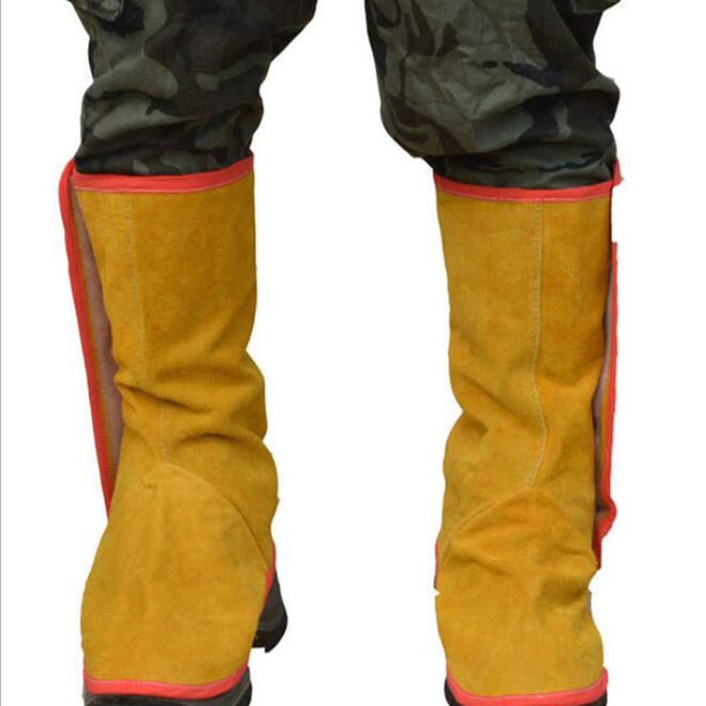 LAIABOR Piel de Vaca Engrosada Larga Soldadura eléctrica pie Polainas Soldador pie Cubierta Anti-escaldado: Amazon.es: Deportes y aire libre