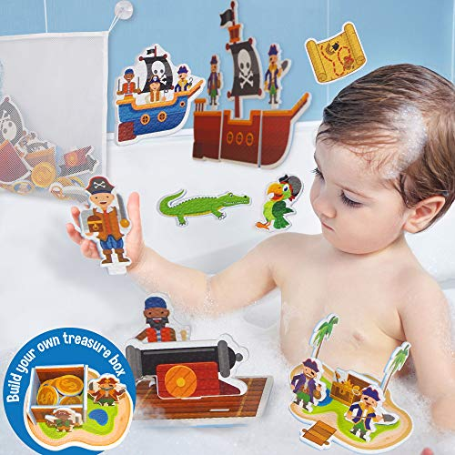 Learn & Climb Interactive Bath Toys for Boys - Play and Build Your Own Pirate Ship. for Boys Ages 3-4-5, Toddlers and Kid - Plus Bath Toy Organizer and Bath Chore System