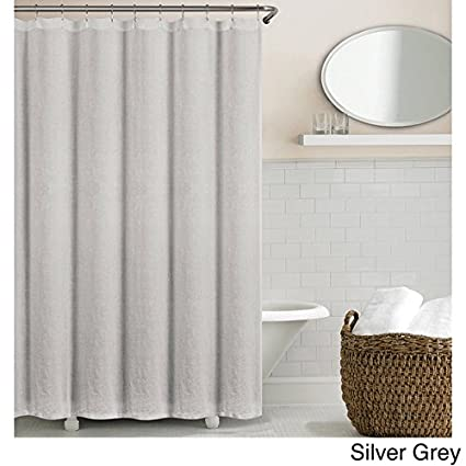 Echelon Home Washed Belgian Linen Shower Curtain Silver Grey
