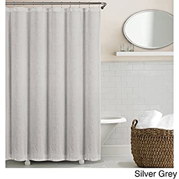 Amazon.com: Echelon Home Washed Belgian Linen Shower Curtain Silver ...