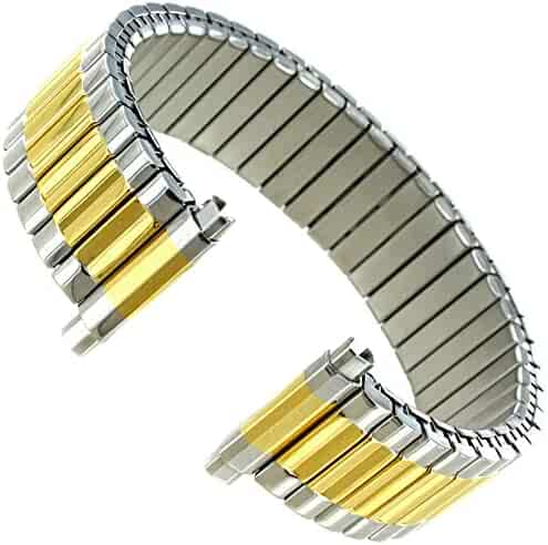 91e8dc28449 16-21mm Hirsch Twist-O-Flex Silver Gold Two Tone Stainless Steel Watch