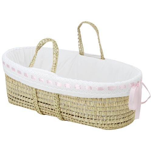 BabyDoll Pretty Ribbon Moses Basket Bedding Set Pink