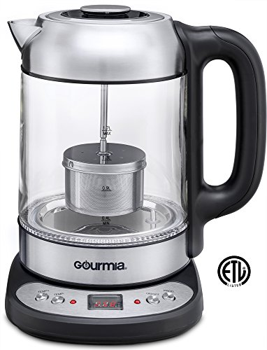 Gourmia GDK290 Electric Glass Tea Kettle With Built In Precise Steeping Tea Infuser, Programmable Temperature Pedestal Control Panel, 2 Quarts - Pedestal Kettle
