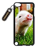CASEYIMEI Fashionable Cute Piglet Baby Pig Design Black Plastic Cell Phone Cases Cover for iPod Touch 5 case