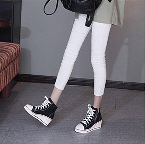 35 Wealsex Negro Mujer Grande Lateral Cu Encaje Zapatos Talla 43 de Zapatos Casuales Lona Hebilla Cremallera as wBAq1Cw