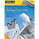 Apollo Transparency Film for Plain Paper Copier, Black on Clear Sheet, Without Stripe, 100 Sheets/Pack (VPP100CE)