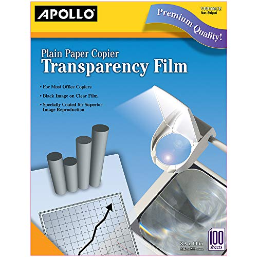 Apollo Transparency Film for Plain Paper Copier, Black on Clear Sheet, Without Stripe, 100 Sheets/Pack (VPP100CE) Apollo Laser Printer Transparency Film