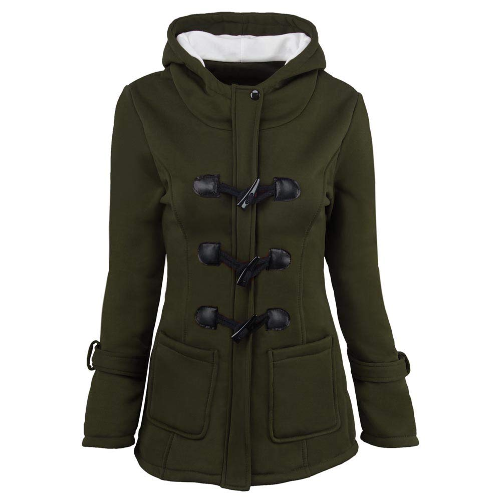 Wokasun.JJ Fashion Women Windbreaker Outwear Warm Wool Slim Long Coat Jacket Trench Green S
