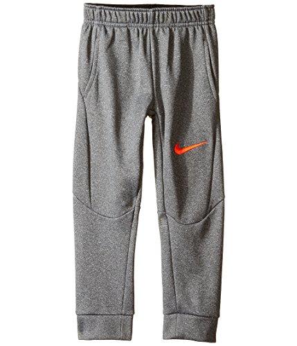 Nike Little Kids Tapered Therma-FIT Fleece Pants (Dark Grey Heather (76B219-042) / Team Orange, 2T Toddler)