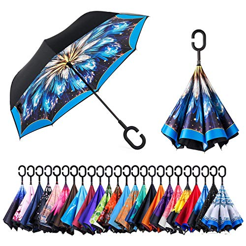 AmaGo Windproof Inverted Umbrella - UV Protection Double Layer Reverse Folding Long Self Standing Umbrella with C-Shape Handle for Car Rain Outdoor Travel(Blazing Blue)