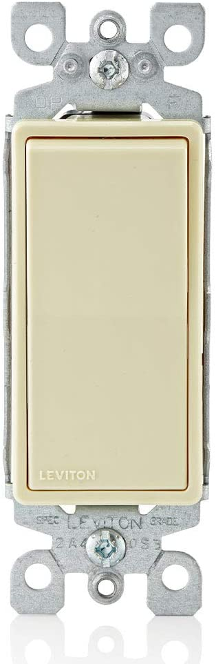 Leviton 5601-2I 15 Amp, 120/277 Volt, Decora Rocker Single-Pole AC Quiet Switch, Residential Grade, Grounding, Ivory