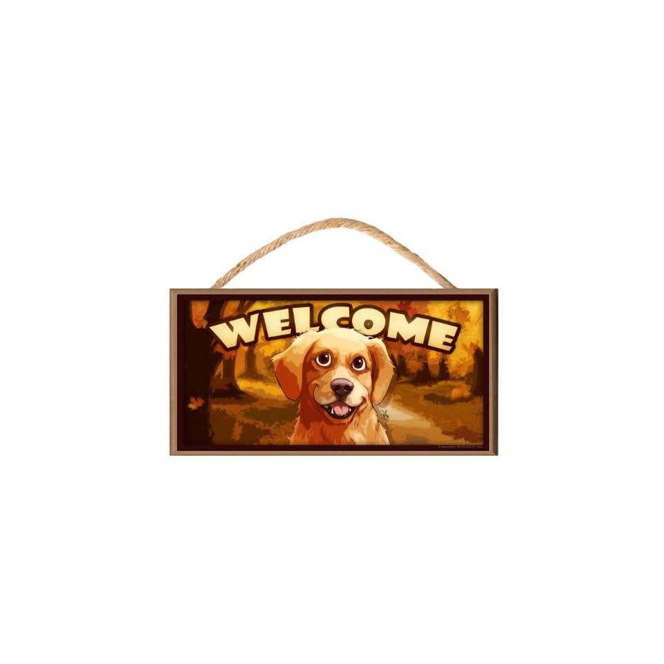 Golden Retriever Dog Autumn Season Cartoonish look Welcome Sign / Plaque featuring the art of Scott Rogers