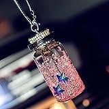 kiwilife Austrian Crystal Wishing Bottle Car Hanging Ornament Car Hanging Decorations Interior Car Rearview Mirror Pendant (Pink)