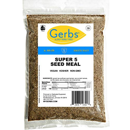 Ground Pumpkin, Sunflower, Chia, Flax, Hemp Seed Meal, 1 LB. By Gerbs - Top 14 Food Allergy Free & NON GMO - Vegan & Keto Safe – Premium Full Oil Content Protein Powder