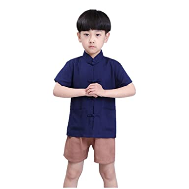 f0412327b Hooyi Children Boy Solid Cotton Clothes Set Short T-Shirt Pant 2PC China  Traditional Boy