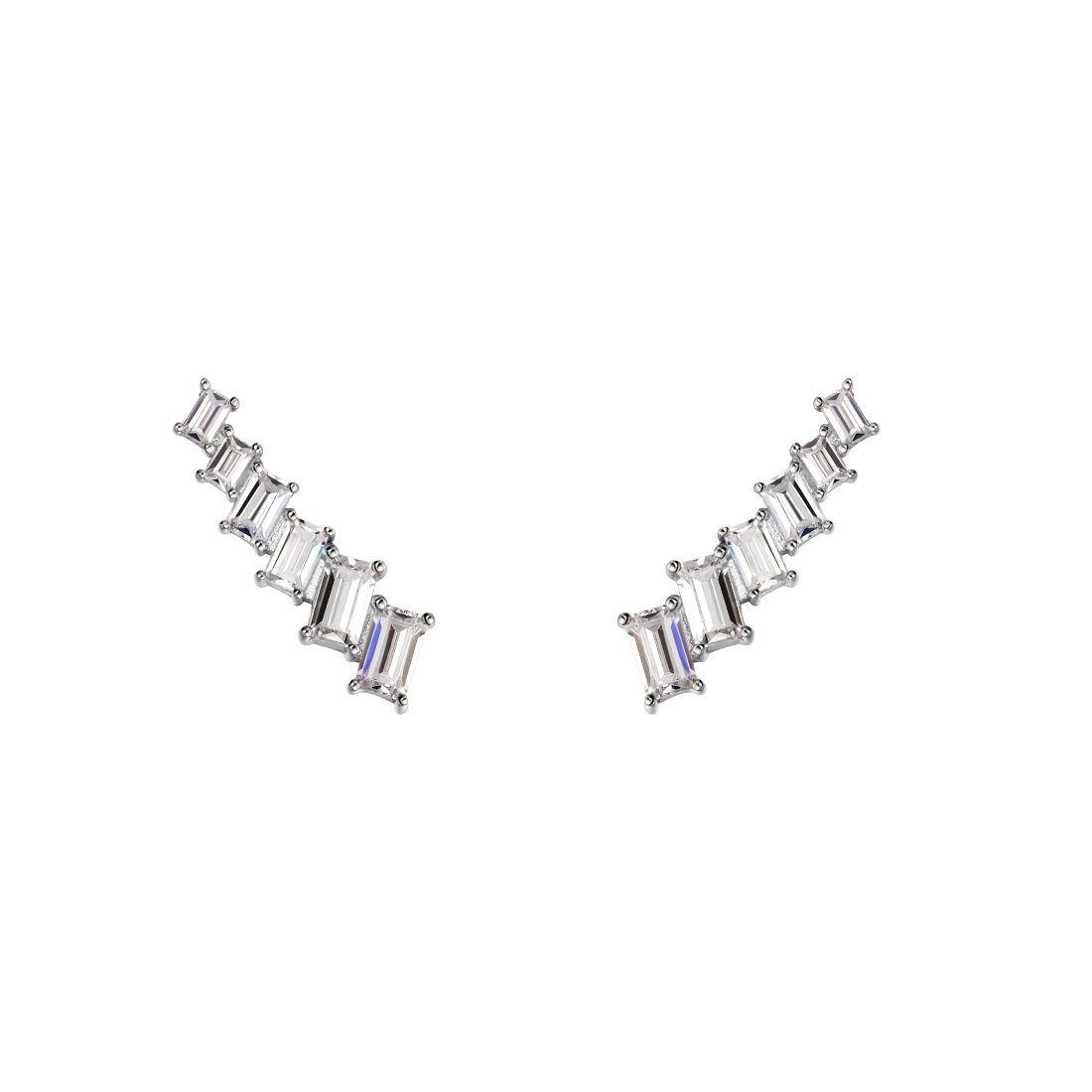 Carleen 925 Sterling Silver CZ Cubic Zirconia Cuff Earrings Ear Crawler Climber Jackets For Women Girls by Carleen