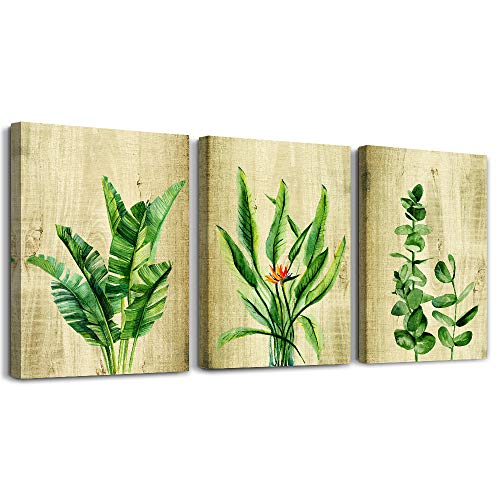 Green Plant Leaves Canvas Wall Art for Bedroom Wall Decorations for Living Room Bathroom Wall Decor - 3 Panels Wall Painting Home Decoration Canvas Print Watercolor Painting Poster Artwork Wall Mural ()