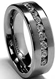 8 MM Men's Titanium ring wedding band with 9 large Channel Set Cubic Zirconia CZ size 10